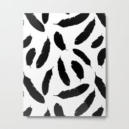 Black and White Boho Feather Pattern Metal Print