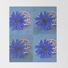 Still life with chicory flower Throw Blanket