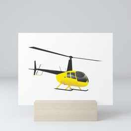Light Black and Yellow Helicopter Mini Art Print