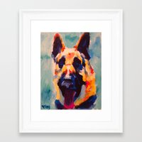 german shepherd Framed Art Prints featuring German Shepherd by Heather Hartley