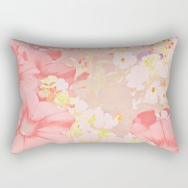 Carefree Pink Petunias Rectangular Pillow