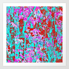 pink maple tree leaf with blue and red abstract background Art Print
