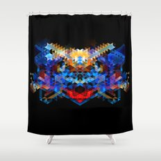 Red Beast Crowned in Blue Shower Curtain