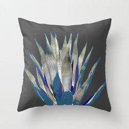 BLUE-GREY AGAVE DESERT CACTUS Throw Pillow