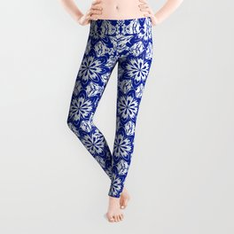 Sapphire Blue Floral Leggings