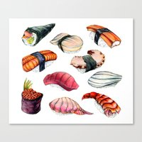 sushi Canvas Prints featuring Sushi by BigRedSharks