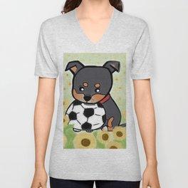 Charlie pup, Black Terrier pup Unisex V-Neck