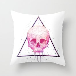 Skull in triangle Throw Pillow