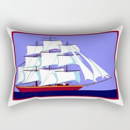 A Clipper Ship Full Sail in Still Waters Rectangular Pillow