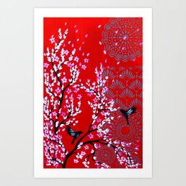 Red and Pink Cherry Blossom Art Print