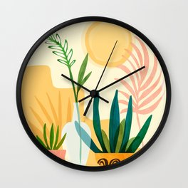 Sunshine Terrace - landscape illustration Wall Clock