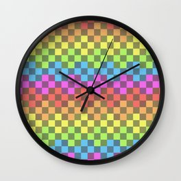colorful texture - colorful squares Wall Clock