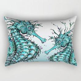 Cyan Seahorse Rectangular Pillow