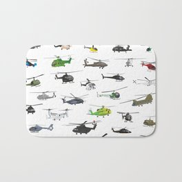 All Helicopters Pattern Bath Mat