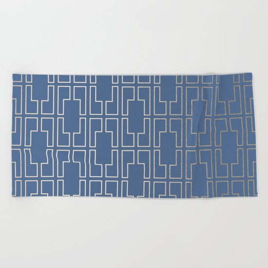 Simply Mid-Century in White Gold Sands and Aegean Blue Beach Towel