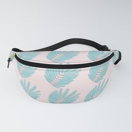 Turquoise Twice-Pinnated Leaves Pattern Fanny Pack