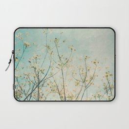White Dogwood Tree Spring Flower Branches Painterly Laptop Sleeve