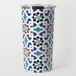 Geometric Pattern - Oriental Design Pt. 7x - seamless design ,blue, green Travel Mug