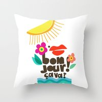 bonjour Throw Pillows featuring Bonjour! by Daily Thoughts