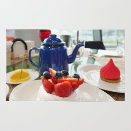 Russian traditional tea dessert berry cake with a tea Rug