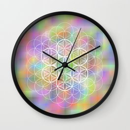 THE FLOWER OF LIFE - ON MOTTLED BACKGROUND Wall Clock