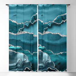 Glamour Turquoise Blue Bohemian Watercolor Marble With Silver Glitter Veins Blackout Curtain