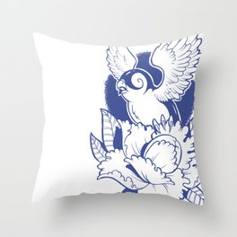 Swallow n Peony Throw Pillow