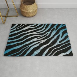 Ripped SpaceTime Stripes - Sky Blue/White Rug