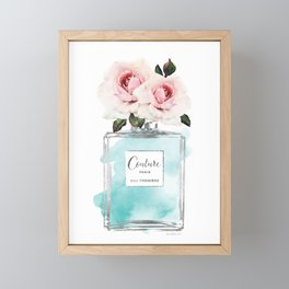 Perfume, watercolor, perfume bottle, with flowers, Teal, Silver, peonies, Fashion illustration, Framed Mini Art Print