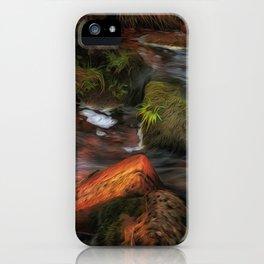 Colours of Autumn in a Brecon stream iPhone Case