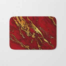 Chic Elegant Fire Red Ombre Glitter Marble Bath Mat