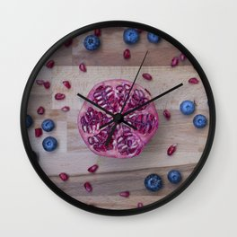 Pomegranate Blueberry explosion Wall Clock