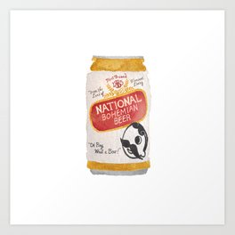 Natty Boh Cold One Baltimore Watercolor Art Print