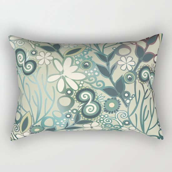 Detailed square of green and ocre floral tangle Rectangular Pillow
