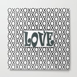 PPG's Night Watch Pewter Green LOVE XOs (Hugs and Kisses) Typography Art Metal Print