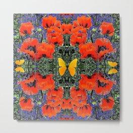 ORANGE POPPIES & YELLOW BUTTERFLIES PURPLE GARDEN ART Metal Print