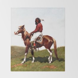 """Western Art """"Comanche Brave"""" by Frederic Remington Throw Blanket"""