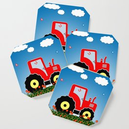 Red tractor in a field Coaster
