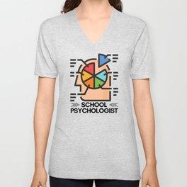 School Psychologist with Brain Unisex V-Neck