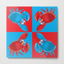 Red and Blue Crabs on Blue and Red Metal Print