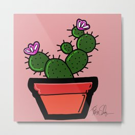 Cute Prickly Potted Cactus Metal Print
