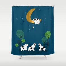 A cow jump over the moon Shower Curtain