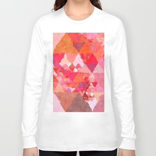 Into the heat - Pink and red watercolor Triangle pattern Long Sleeve T-shirt