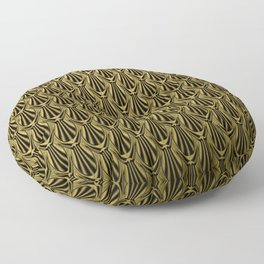 Overlapping Shell Pattern in Gold Floor Pillow