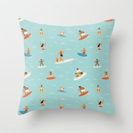 Surfing kids Throw Pillow