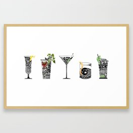 Motley Crew: 5 classic cocktail recipes - French 75, Bloody Mary, Martini, Old Fashioned, Mint Julep Framed Art Print