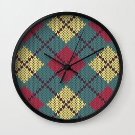 Faux Retro Argyle Knit Wall Clock