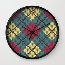 Faux Retro Argyle Knit Wall Clock