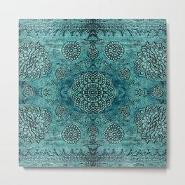 Teal Bohemian Textured Metal Print