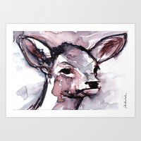 Fawn, Watercolor Art Print